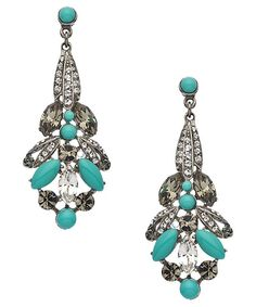 Ben-Amun Silver Crystal and Turquoise Chandelier Earrings #maxandchloe