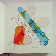 Dinge, die auf meinem Schreibtisch liegen. #sketchbook #drawing #outlines #marker #felttip #pencil #utensils