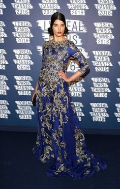 Crystal Renn wore a #Marchesa Fall 2016 embroidered gown to the @LOrealParisUSA #BlueObsession party. #Cannes2016 The Fashion Court (@TheFashionCourt)   Twitter