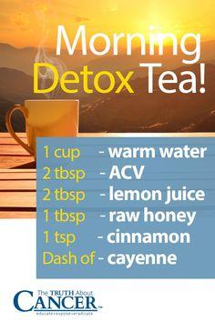 Here's a fantastic detox tea to drink tomorrow morning: 1 cup warm water, 2 tbsp ACV, 2 tbsp lemon j Detox Tee, Detox Tea Diet, Detox Juice Cleanse, Detox Drinks, Detox Juices, Lemon Cayenne Detox, Lemon Detox, Natural Body Detox, Natural Healing