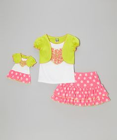 Look what I found on #zulily! Pink & Green Polka Dot Skirt Set & Doll Outfit - Toddler & Girls by Dollie & Me #zulilyfinds