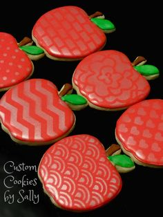 airbrushed apple sugar cookies made by Custom Cookies by Sally
