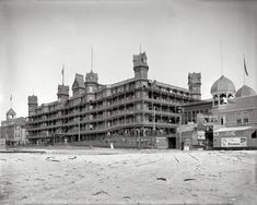 "Old Orchard, Maine, circa 1904. ""Hotel Velvet from beach."" Note photo studio signage at right. Renamed the Hotel Emerson, the place ""burned like oil"" in the Great Fire of 1907."