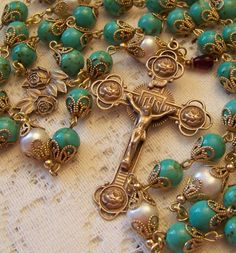 French Rosary ~ 8mm Turquoise Gemstones & Cultured Pearls Antique Bronze Design