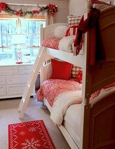 girls bunkbed christmas room in red