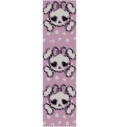 A Girly Skull Bracelet Pattern in Peyote Stitch