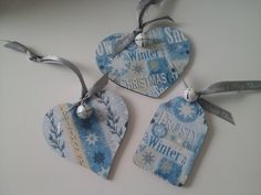 SET OF 3 WOODEN CHRISTMAS DECORATIONS  OR  GIFT TAGS £3.50