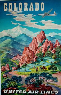 Vintage United Airlines poster for Colorado