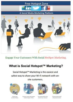 Free Hotspot Zone is now offering a new Wi-Fi marketing platform that is designed for companies that are trying to monetize their free Wi-Fi. Free Hotspot Zone is the only social powered Wi-Fi platform that is built for local marketing re-sellers. Unlike traditional Wi-Fi, our proprietary social media marketing platform allows for on location promotions including; Facebook notifications, advertisements and redirecting to landing page.
