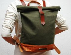 waxed Canvas Backpack khaky color hand by NATURALHERITAGEBAGS
