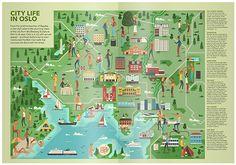 Oslo map for Monocle magazine by Muti Magazine Illustration, Travel Illustration, Oslo, Winter Breaks, Monocle Magazine, Pictorial Maps, Map Design, Graphic Design, Travel Maps