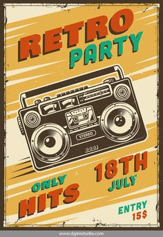 Vintage music retro party advertising poster with boombox. Click to the link to find more rock&roll posters. #vectorillustration #vector#illustration #design #dgimstudio #music #rock #roll #rock&roll #party #club #concert #retro #boombox
