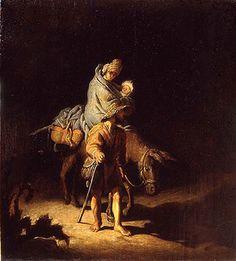 The Flight into Egypt (Tours), Rembrandt Harmenszoon van Rijn (1627). Musee des Beaux-Arts de Tours.