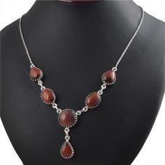 LATEST STYLE 925 STERLING SILVER FANCY RED TIGER EYE NECKLACE 26.10g NK0017 #Handmade #NECKLACE