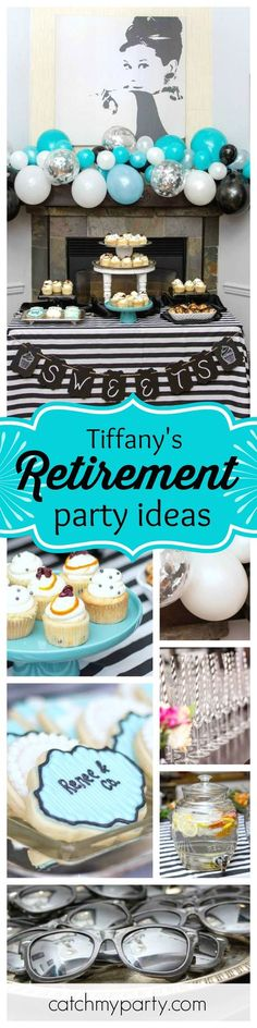 Don't miss this fabulous Tiffany inspired retirement party! Talk about style... Love the sunglasses photo prop! See more party ideas and share yours at CatchMyParty.com