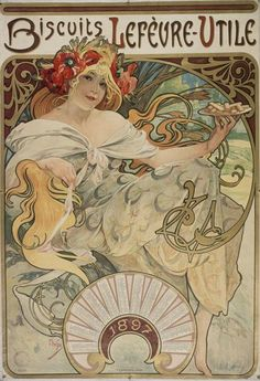 Mucha created this fabulous 1897 calendar ad for the Lef vre-Utile Biscuit Co, and he was the first to utilize the initials for the company, LU, which is now how it is most widely recognized. All of our prints are beautifully rendered on 13 by 19 professional heavyweight matte photo paper. All images are printed exactly as shown to order. Old photos and other vintage media sometimes have a bit of blur which we are careful to keep, as we do with the creases in film posters or antique maps so…