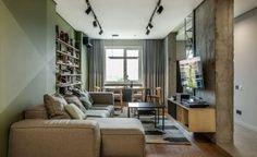 Hölgy új, modern lakása zöld árnyalatokkal, geometrikus mintákkal, a hálószobában puha falpanelekkel - 86m2