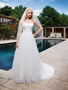 Tulle Softly Curved Neckline Intricately Beaded Lace Bodice A-line Wedding Dress