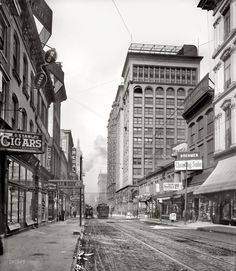 St. Louis, Missouri, circa 1900. Olive Street west from Sixth. 8x10 inch dry plate glass negative, Detroit Publishing Company. | Click image for Comments. | Home
