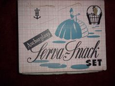 Vintage Anchor Hocking Anchorglass Serva Snack Set 4 Cups Trays