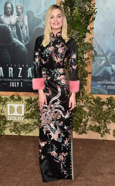 "Patterned Princess from Margot Robbie's Best Looks  Not everyone could pull off this complicated pattern (and hot pink cuffs!), but Margot does it effortlessly at the premiere of ""The Legend of Tarzan."""