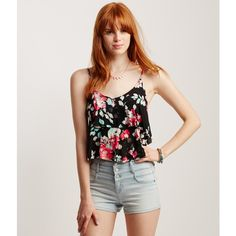 Aeropostale Floral Tiered Swing Crop Tank ($5.99) ❤ liked on Polyvore