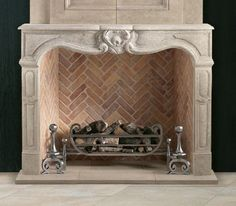 Decorative fire basket from Chesney's for Gas log fireplaces – Farmhouse Fireplace Mantels French Country Fireplace, Farmhouse Fireplace Mantels, Fireplace Mantel Surrounds, Gas Fireplace Logs, Limestone Fireplace, Gas Logs, Fireplace Design, Fireplace Ideas, Herringbone Fireplace