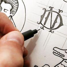 "Monogra""ing"" :) #illustration #handdrawn #working #lifestyle #oldschool #lettering #letteringart #letteringday #letteringdesign #tipografia"