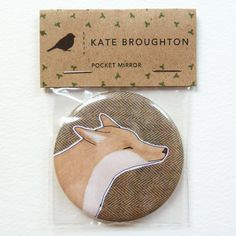 This is a pocket mirror with my illustration of a fox on a tweed background. The mirror measures cm diameter, the perfect size to pop in your bag/pocket. It comes in a clear cellophane packet with a recycled paper label. Simple Packaging, Packaging Ideas, Gift Wraping, Jewelry Packaging, Graphic Design Illustration, Little Gifts, Craft Fairs, Biodegradable Products, Arts And Crafts
