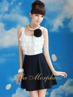Morpheus Boutique  - Black and white Sleeveless Ruffle Layer Dress , $55.99 (http://www.morpheusboutique.com/black-and-white-sleeveless-ruffle-layer-dress/)