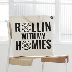 'Rollin' With The Homies' Tote Bag by Hey Holla, the perfect gift for Explore more unique gifts in our curated marketplace. Dutch Bicycle, Gym Towel, Gym Accessories, Teenage Girl Gifts, Stocking Fillers, Great Christmas Gifts, Clueless, Cotton Bag, Screen Printing