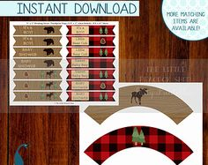 Woodland Northwoods Printable Baby Shower Cupcake wrappers and drinking straw pennant flags! DIYwood and buffalo plaid moose bear
