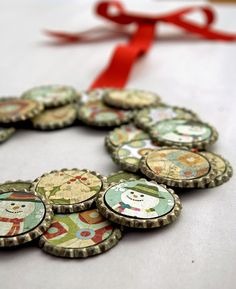 I shouldn't tell people that my daughter likes to collect our beer bottle caps, but she does. She thinks they're doubloons. Maybe I should make her get her craft on instead...Beer Bottle Cap Christmas Wreath.