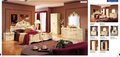 Barocco Ivory Traditional Bedroom Set (Bed, Night Stand, Double Dresser and Mirror) - ESF Furniture
