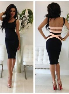 Black Little Black Dress - Quontum Peach/Nude Strap Midi Backless | UsTrendy