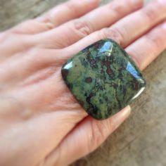 Square Stone Ring, Big Ring, Chunky Ring, Dragon Blood Stone, Cocktail Ring, Bohemian Ring, Bohemian Jewelry, LAST ONE! https://www.etsy.com/ca/listing/103014550/square-stone-ring-big-ring-chunky-ring