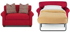 On the small side sleeper loveseat from,JC Penney - the fold out bed is twin size. last time I looked at it in 2013, it was $600.