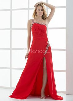 A-line Red Beading One-Shoulder Side Split Womens Prom Dress. See More A-line at http://www.ourgreatshop.com/A-line-C938.aspx