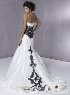 Black Lace Wedding Dresses Lace Black And White Wedding Gowns Lace Wedding Dress, White Wedding Gowns, Colored Wedding Dresses, Blue Wedding, Gothic Wedding, Trendy Wedding, Gangster Wedding, Black White Wedding Dress, Tribal Wedding