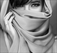the eyes have it - could use veil or flowers in place of scarf