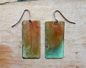 Copper Patina Earrings: Rectangle-Squares