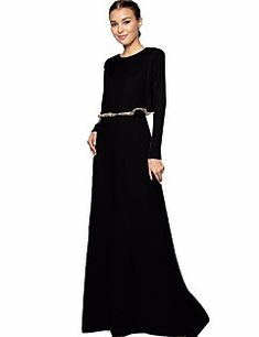 Women's+Daily+Abaya+Dress,Solid+Round+Neck+Maxi+Long+Sleeves+Polyester+Winter+Fall+Mid+Rise+Micro-elastic+Medium+–+CAD+$+29.36 Fall Winter, Beige, Medium, Long Sleeve, Casual, Sleeves, Color, Shopping, Black