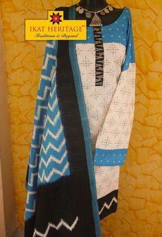 Ikat semi stitched kurta dupatta