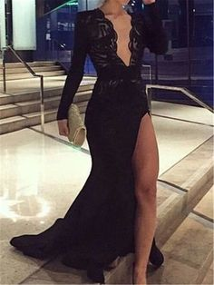 Elegant Black Long Sleeves Prom Dresses, Deep V Neck Lace Prom Dress - Elegant Dresses Elegant Dresses For Women, Pretty Dresses, Sexy Dresses, Summer Dresses, Formal Dresses Long Elegant, Work Dresses, Vacation Dresses, Simple Dresses, Cheap Dresses