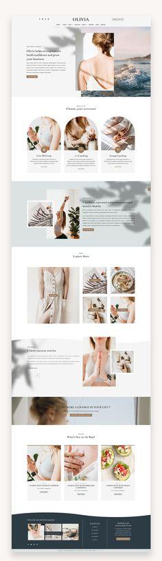 Website Design Inspiration, Health And Wellness Coach, Website Layout, Create Website, Premium Wordpress Themes, Grafik Design, Layout Design, Ux Design, Creative Business