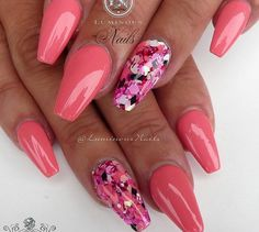 Coral Pink nails with glitters