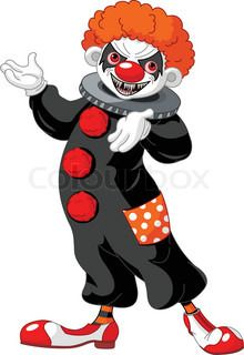 Illustration of Scary Halloween clown presenting (showing) | vector_preview_title | Colourbox on Colourbox