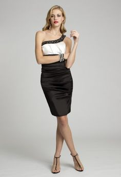 Short Dresses - Stretch Satin Beaded One Shoulder Dress from Camille La Vie and Group USA