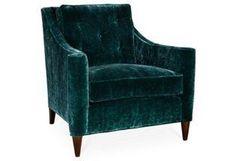 Zellar Velvet Club Chair, Teal   Inspired Design   One Kings Lane