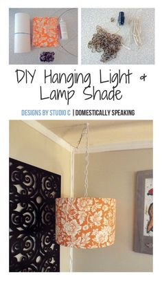 This would be perfect in the dark corner of my family room!!!  A DIY Hanging Light and Lamp Shade - looks like an easy DIY Project